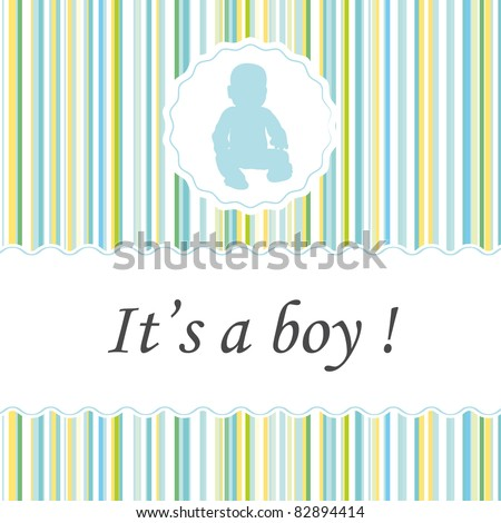 It's a boy ! Greeting card birth announcements. - stock photo