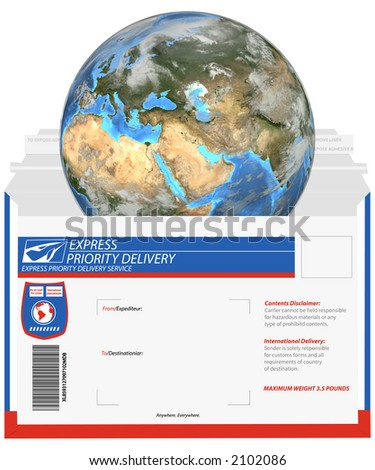 It\'s a small world, when you ship fast. Earth is a 3D render, the mailer is a clean render of a vector, which uses NO actual trademarks,  copyrighted text, or company logos.