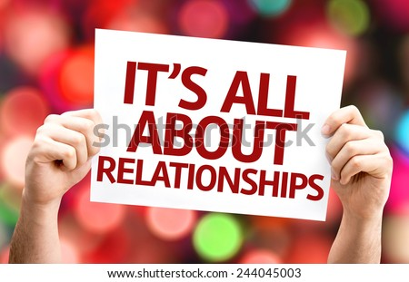 It\'s All About Relationships card with colorful background with defocused lights