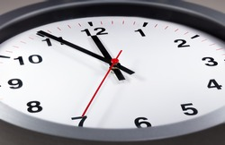 It's five to twelve, the clock is ticking. Modern white clock shows the time 5 before 12. Close up to a wall clock, with five minutes to twelve o'clock. Time running out to avoid the climate change