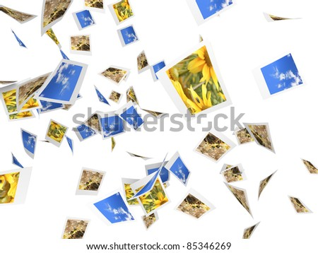 It`s raining instant photos. 3D rendered Illustration.