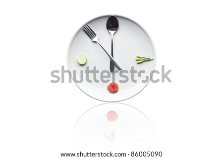 It's time for lunch. Spoon and fork instead of the clock on the dinner plates.