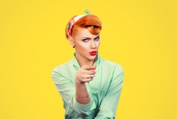 It's you! Portrait angry annoyed pin up retro style woman getting mad pointing finger at you camera showing hand gesture this is you, you chosen isolated on yellow  wall background.  Negative emotions