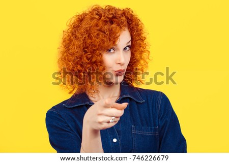 It's you! portrait of a beautiful woman redhead curly 80's retro style pointing at you camera happy isolated yellow background wall. Body language, gestures, psychology. #746226679