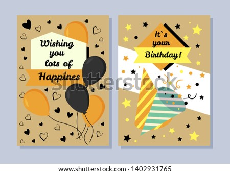 It s your birthday wishing you lots of happiness raster illustration with many balloons festive hats and confetti wishes hearts stars