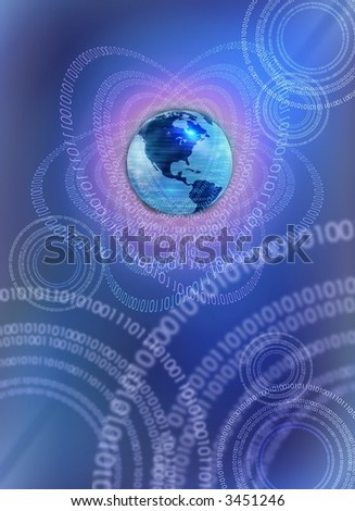 IT technology world - conceptual business background with earth globe and binary data leaks