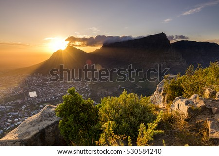 It was a tricky hike with a couple of colleagues to the top of Lions Head in Cape town. It was also dark during our ascent, but the resulting view and sunrise were spectacular. #530584240