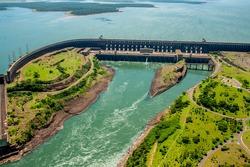 Itaipu dam shot from above