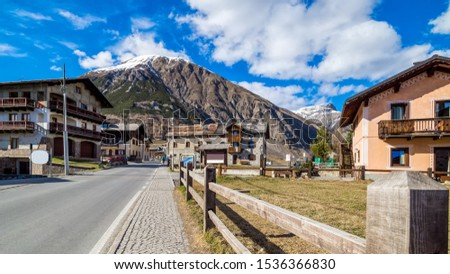 Italian Alpine ski village, street view with residential houses, Livigno is a small town and Italian Alpine ski centre, Italy, Alps #1536366830