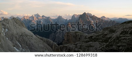Italian alps, Ampezzo Dolomites; Cadini and Marmarole #128699318