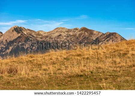 Italian Alps and the Plateau of Lessinia with the Carega Mountain, called the small Dolomites. Regional Natural Park, Verona province, Veneto, Italy, Europe