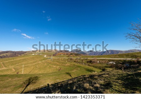 Italian Alps and the Plateau of Lessinia with the Carega Mountain, called the small Dolomites. Regional Natural Park, Verona province, Veneto, Italy, Europe