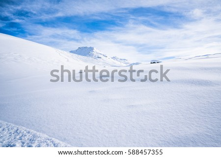 Italian Alps in the winter seen from Cime Bianche in Cervinio ski resort, Italy