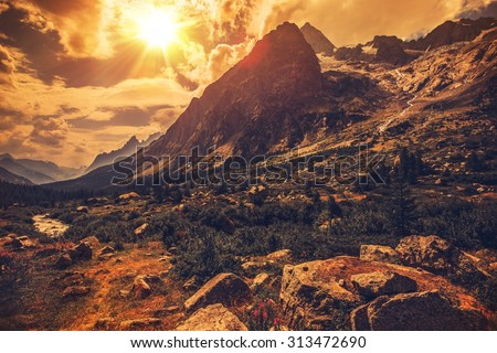 Italian Alps Scenery. Northern Italy Mountain Landscape.