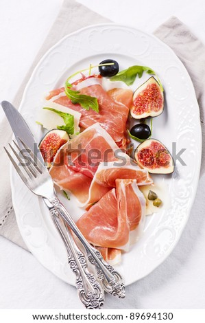 italian antipasto with prosciutto and figs
