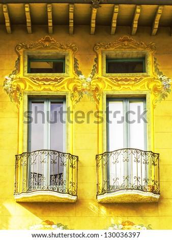 Italian balcony window gold