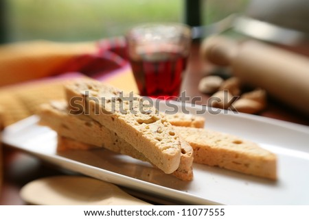 Italian biscotti with red wine, typical italian sweet snack