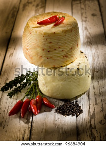 italian cheese with hot chili pepper
