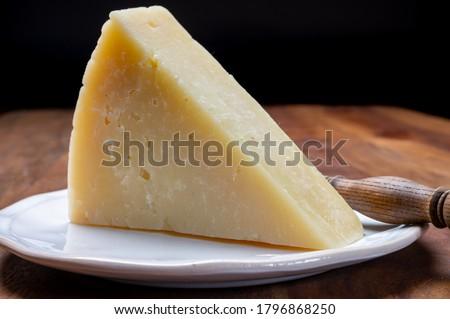 Italian cheeses collection, matured pecorino romano hard cheese made from sheep melk close up Foto stock ©
