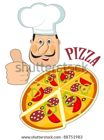 Italian chef and a pizza isolated on white background