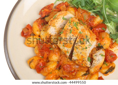 Italian Chicken casserole with gnocchi and rocket salad