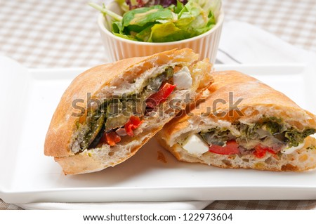 Italian ciabatta panini sandwichwith with vegetable and feta cheese