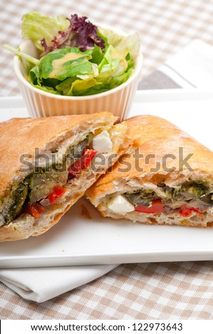 Italian ciabatta panini sandwichwith with vegetable and feta cheese