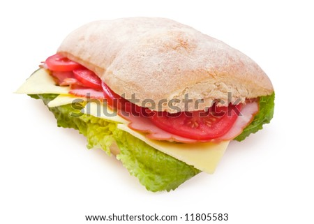 Italian ciabatta sandwich with lettuce, ham, cheese and ripe tomatoes