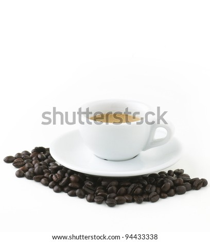 Italian coffee with beans isolated on white with Clipping Path