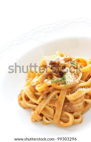 Italian cuisine, Meat sauce Pasta on white background