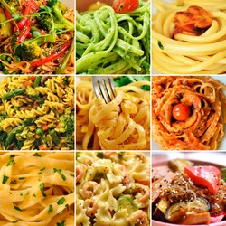 Italian Cuisine. Pasta Varieties of pasta and dishes. Food collage.