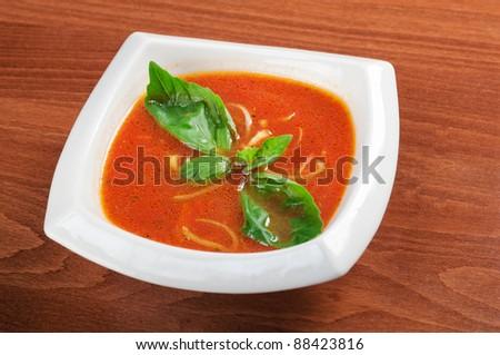 Italian cuisine,Tomato soup in ceramic bowl