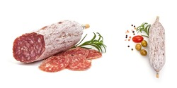 Italian cured sausage with fennel seeds, isolated on white background.
