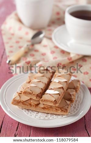 Italian dessert with hot tea