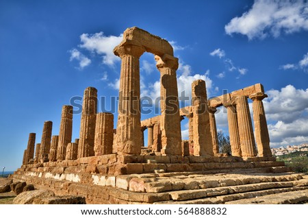 Italian destination, Greek temple of June, in the archaeological site of Valley of Temples in Agrigento, Sicily