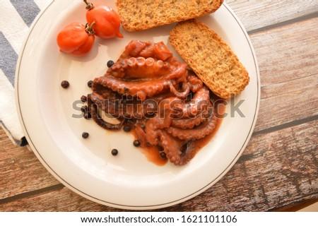 italian dish octopus luciana with tomato gourmet food