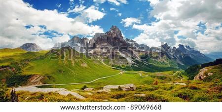 Italian Dolomiti - nice panoramic view of high mountains