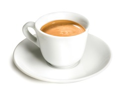 Italian Espresso Coffee Cup - Isolated on White Background