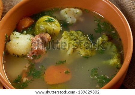 Italian Farm-Style Country Vegetables Soup With Broccoli ...