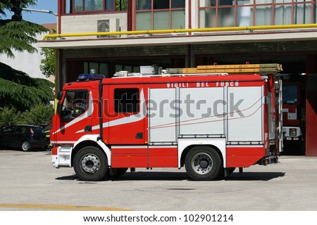 Italian fire truck during a rescue operation