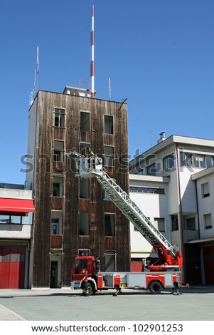 Italian fire trucks ladder truck during a rescue mission