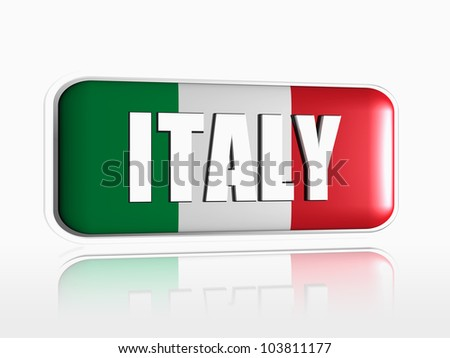 Italian flag 3d banner with white text