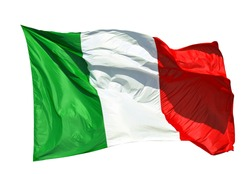 Italian flag fluttering in the wind. Green, White, Red are Italian national colors (Isolated on white background)