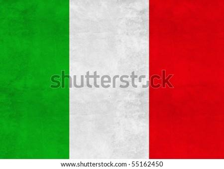 Italian flag on vintage paper