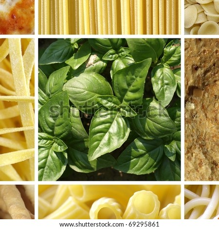 Italian food collage including 9 pictures of pasta, bread, pizza