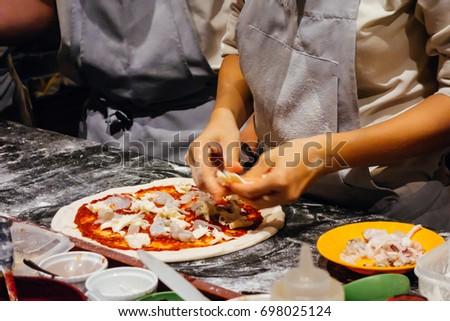 Italian food,cooking pizza