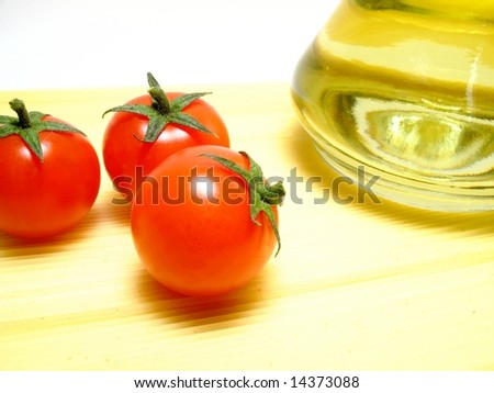 Italian food ingredient, spaghetti, tomatos and olive oil.