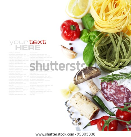 Italian food. Ingredients for cooking (tomatoe, garlic, pepper, mushroom, pasta, lemon, salami)  over white (with easy removable sample text)