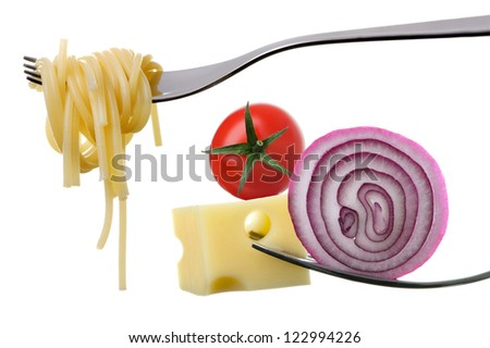 italian food ingredients on forks against white background