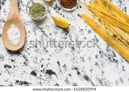 italian food ingredients table top view